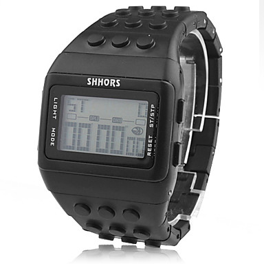 unisex lcd digital Block Ziegel Stil Band Armbanduhr (schwarz)