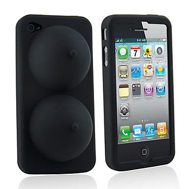Sexy Soft Silicone iBoobies Case for iPhone 4/4S (Black)