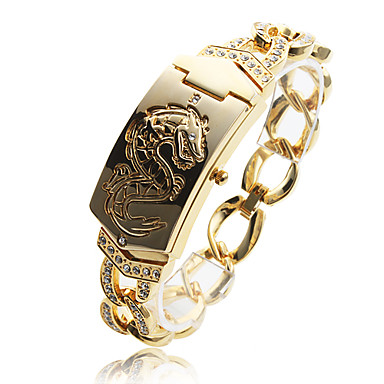 vrouwen modieuze draak patroon goud legering kwarts armband horloge