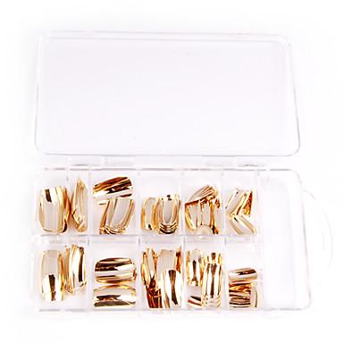 75PCS Metall shiny silver und golden Acryl UV Gel falsche Tips Nail Art
