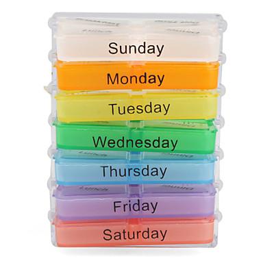 colorido 7-dias caixa de comprimidos projeto com a cremalheira