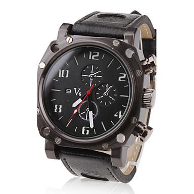 V6 Erkek Bilek Saati Asker Saat Quartz Japon Kuvartz Büyük indirim PU Bant İhtişam Siyah