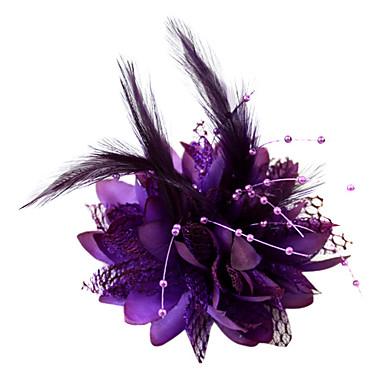 Kristal Tüy Kumaş Pamuk - Tiaras Fascinators Çiçekler 1 Düğün Özel Anlar Parti / Gece Başlık