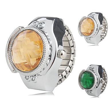 Kadın's Yüzük Saat Japonca Quartz Gündelik Saatler Alaşım Bant Çiçek Gümüş - Sarı Yeşil Bir yıl Pil Ömrü / SSUO SR626SW