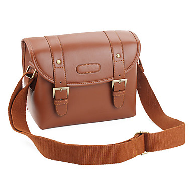 Canvas Camera Camcorder Bag with PU Leather for Miniature SLR (Brown)