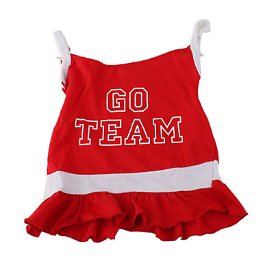 Dog Dress Dog Clothes Letter & Number Red Cotton Costume For Spring &  Fall Summer Women's Sports