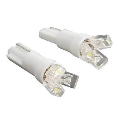 T5 3-LED 20MA 0.24W 12V White Light Car Bulb-Pair