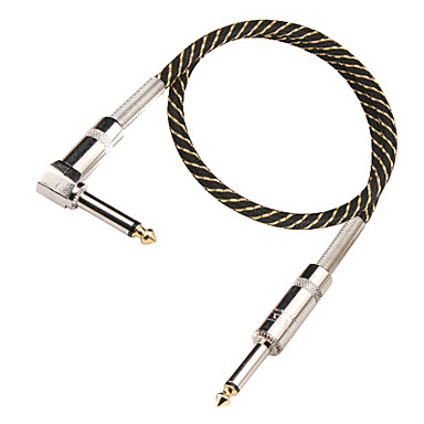 DT Black and Golden Nylon Guitar Cable with Right-angle Mental Plug