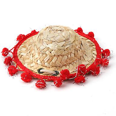 mexická styl slaměný klobouk pro psy (různé barvy, velikosti)