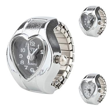kvinnors hjärta - formad stil legering analoga kvarts ring klocka (blandade färger)