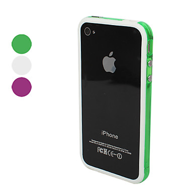 TPU Transparent Bumper Frame Case Skin with Metal Buttons for iPhone 4 and 4S