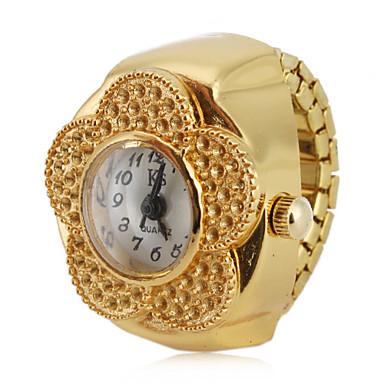 Kadın's Yüzük Saat Japonca Quartz Gündelik Saatler Alaşım Bant Analog Çiçek Moda Altın Rengi