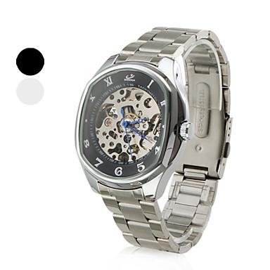 Men's Elliptic Case Style Alloy Analog Mechanical Wrist Watch (Silver)