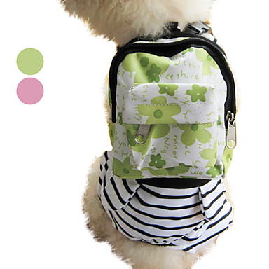Kawaii Spotted Pet Backpack Harness with Pouch (S-L, Assorted Colors)