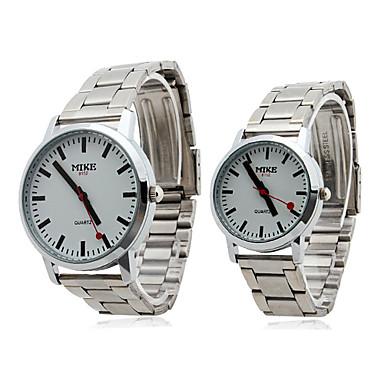 par stil rustfritt stål legering analog kvarts armbåndsur (sølv)