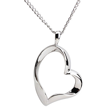 316L Stainless Steel Silver Heart Necklace Pendant For Women with Gift Box
