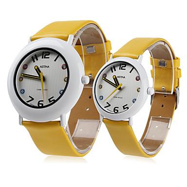 Couple Style Unisex PU Analog Quartz Wrist Watch (Yellow)