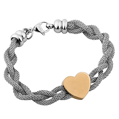 316L Stainless Steel Gold Heart Mesh Braided Bracelet For Women with Box