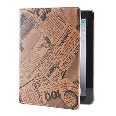 Newspaper Pattern PU Leather Case with Stand for iPad 2/3/4