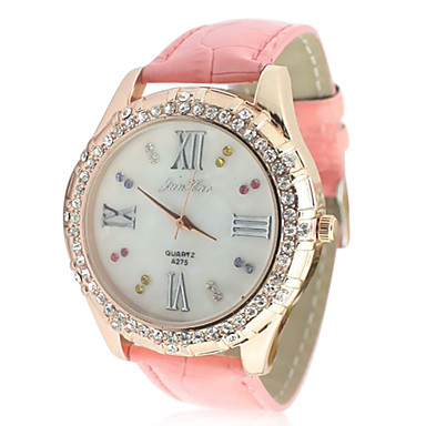 Women's Leather Band Analog Quartz Wrist Watch With Rhinstone Decoration (Pink) Cool Watches Unique Watches
