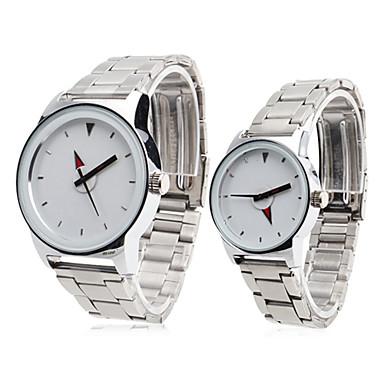 Coppia stile unisex in acciaio analogico al quarzo orologio da polso (argento)