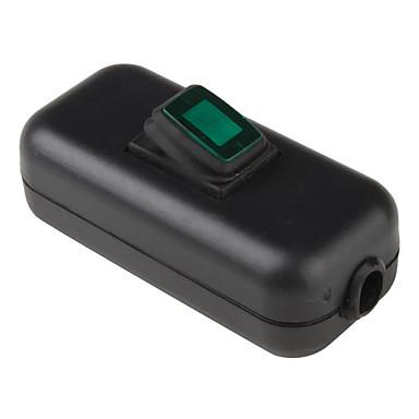 Водонепроницаемые In-Line On / Off Клавиша с зеленого света для электрических DIY (черный и зеленый)