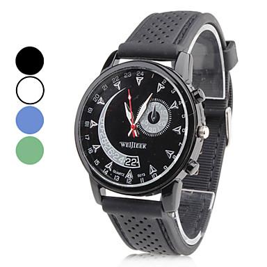 unisex gummi analog kvarts armbandsur (svart)