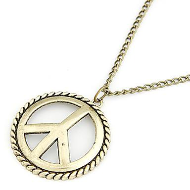 Antique Copper Peace Symbol Necklace