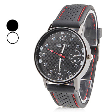 Men's Quartz Wrist Watch Japanese Casual Watch Silicone Band Charm Black