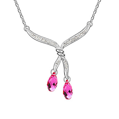 Double Silk Ribbon Surround Water-drops Pattern Fashion Crystal Necklace