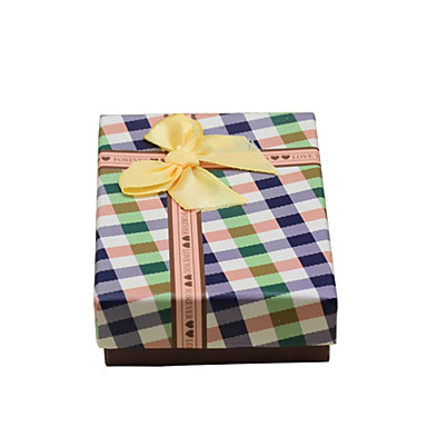 Colorful Grid Stripe Jewelry Gift Box