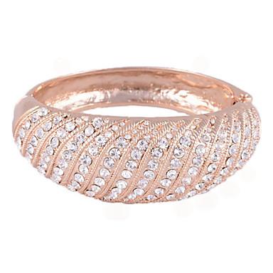 Diagonal Arrangement Crystal Circular Surface Alloy Bracelet