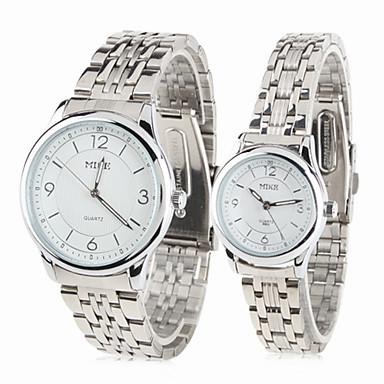 casal estilo unissex aço analógico relógio de pulso de quartzo (prata)