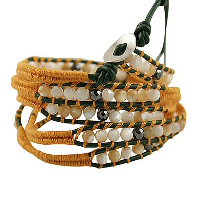 85cm delicate steel button high-grade natural stone bracelet with leather cord and 100% cotton(Yellow)