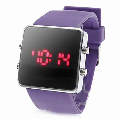 Silicone Band Women Men Unisex Jelly Sport Style Square LED Wrist Watch - Purple