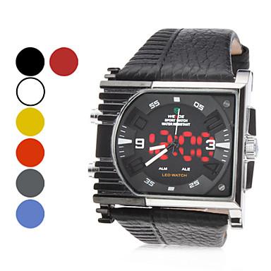 Uomo PU analogico - Digital Multi-Movimento orologio da polso (nero)