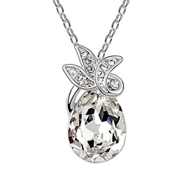 Trefoil Big Water-drops Pattern Fashion Crystal Necklace