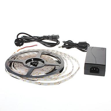 vanntett 5m 300x3528 smd varmhvit lys ledet stripe lampe med AC-adapter sett (100-240V)
