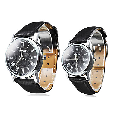 Couple Calendar Style PU Analog Quartz Wrist Watches (Black)