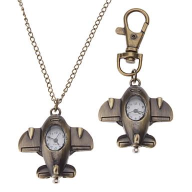 Unisex Mini Flugzeug Stil Legierung Analog Quarz Schlüsselbund Halskette Uhr (Bronze)