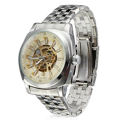 Men's Fashion Style Alloy Analog Mechanical Wrist Watch (Silver)