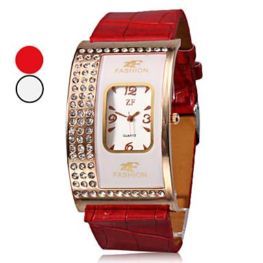 kvinners diamant firkantet sak pu bandet kvarts armbåndsur (assorterte farger)