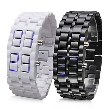 Paar gesichtslosen blauen LED-Stil Armbanduhren (schwarz und weiß)