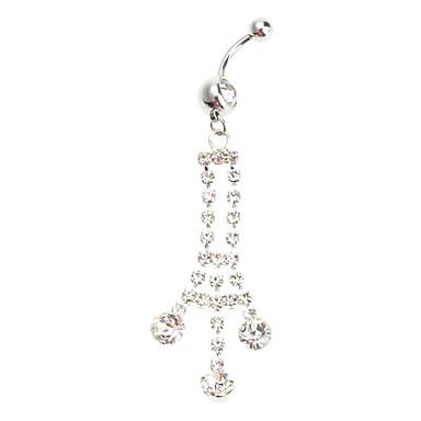Bell Shaped Diamond Studded Stainless Navel Ring