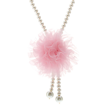 Chiffon Flower Pearl Necklace for Pets