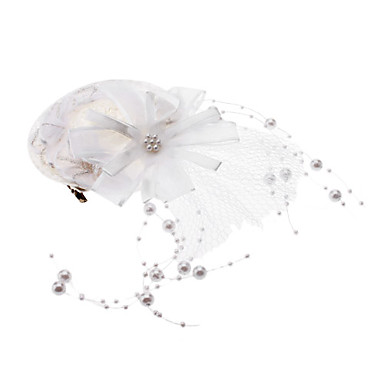 Big White Flower Pearl Strands Lady Chiffon Hat Hair Clip for Pets