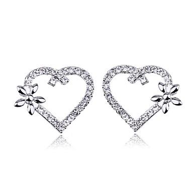 Brincos Curtos Coração Cristal Prata Chapeada Formato de Coração Formato de Flor Prata Jóias Para Festa Diário Casual 2pçs