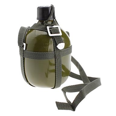Aluminio botella de agua al aire libre militar con correa para el hombro (Ejército Verde, 1.5L)