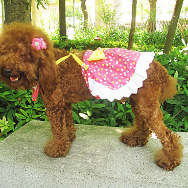 Colorful Spot Pattern Bowknot Style Braces Dresses with Pearl Necklace for Dogs (Assorted Color,S-XXL)
