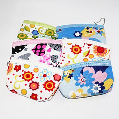 Flower Pattern Textile Zipper Change Purse